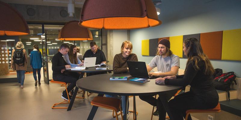 To grupperinger med studenter som sitter rundt to runde bord og jobber. Foto.