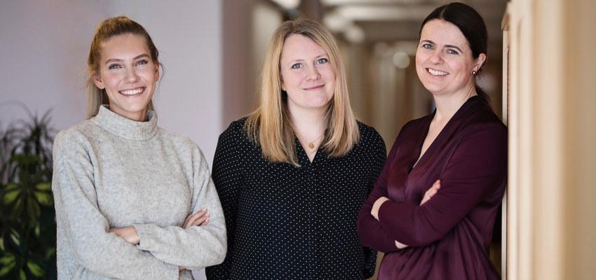 Three woman smiling. Photo