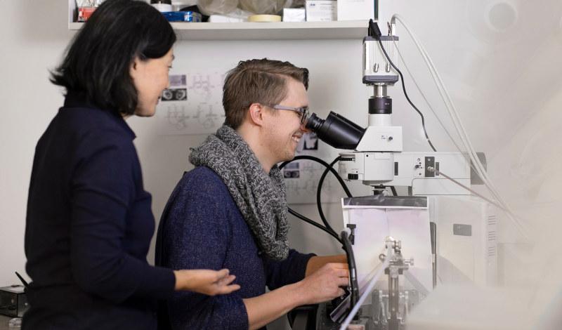 Student som jobber med et mikroskop sammen med en foreleser. Foto.