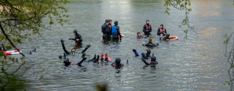 People in the water. Learning about water competence. Photo